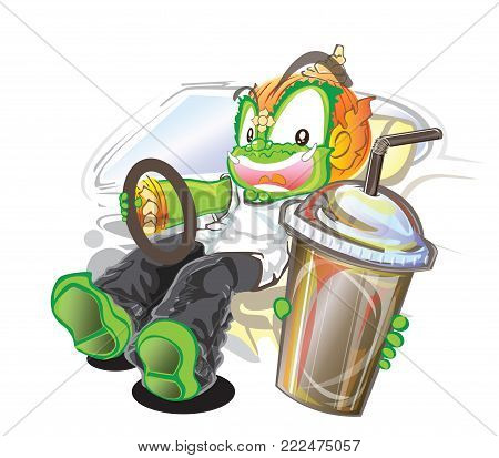 Thai giant vector cartoon driving and pick up the water to you acting character design has clipping paths.