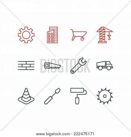 illustration of 12 structure icons line style. Editable set of handcart, circle blade, cogwheel elements.
