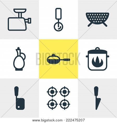 illustration of 9 cooking icons. Editable set of round slicer, butcher knife, carafe and other elements.