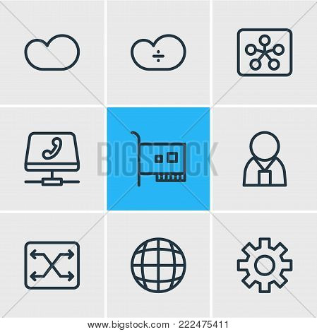 illustration of 9 internet icons line style. Editable set of administrator, switch, voip gateway and other elements.