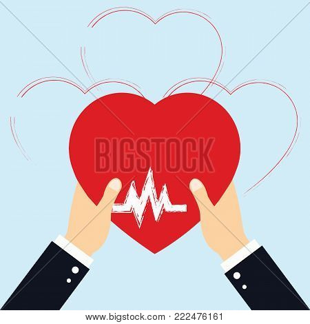 Concept of Donate Organ, heart in a hand symbol, heart icon in red color