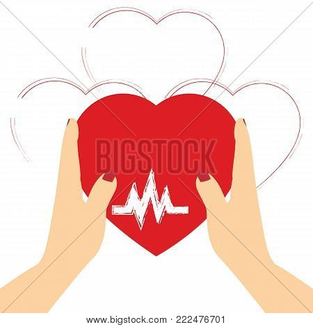 Concept of Donate Organ, heart in a hand symbol, heart icon in red color.
