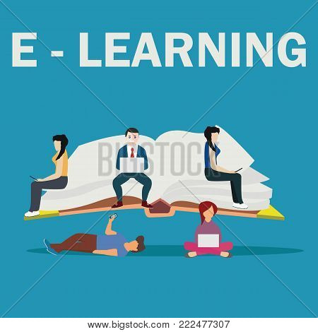 E-learning school vector illustration of young people using laptop, tablet and smartphone for online distance studying and education.