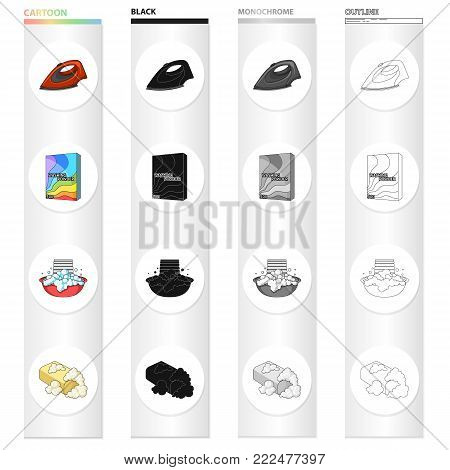 Iron for ironing, washing powder, foam in a bowl, toilet soap. Washing and cleaning set collection icons in cartoon black monochrome outline style vector symbol stock Isometric illustration .