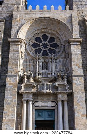 Front view of Se Cathedral in Porto city, Portugal