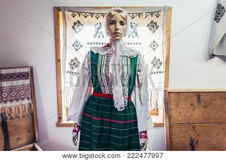 Traditional Polish folk costume from Masuria region