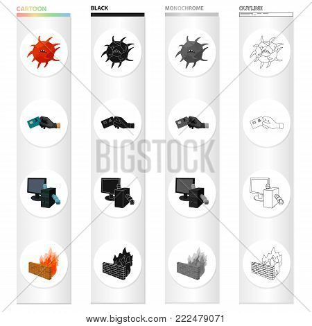 Hacking credit cards, worms in a computer system, a dangerous virus, Firewall. Hacker and hacking set collection icons in cartoon black monochrome outline style vector symbol stock illustration . poster