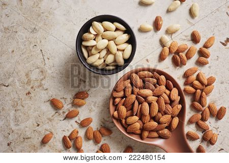 Peeled (blanched) and unblanched whole almonds. Shelled almonds on a spoon with a small black bowl of blanched almonds.