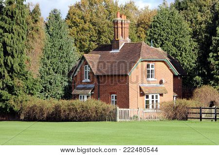 Virginia Water, Surrey, Uk - November 5Th 2017: Pretty Traditional Classic English Red Brick House N