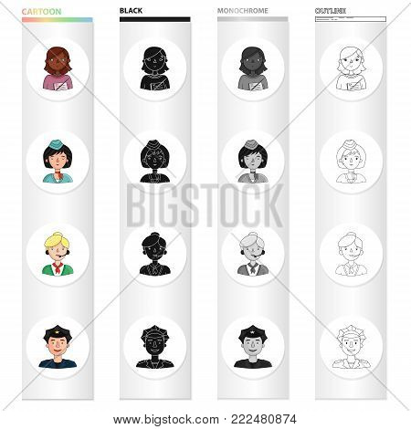 Profession, hobby, education and other  icon in cartoon style. Cactus, policeman, uniform, icons in set collection.