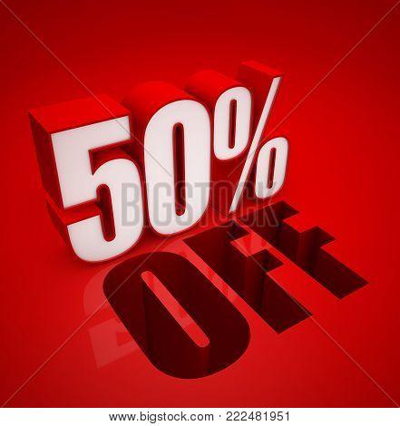 3D illustration of 50 Fifty Percent - Discount