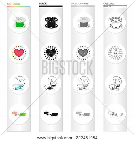 Threads for sewing, a pillow for pins, a needle with thread and a button, a roll of fabric and scissors. Atelier and sewing set collection icons in cartoon black monochrome outline style vector symbol stock illustration isometric .