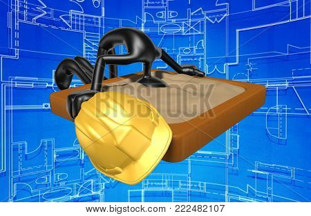 The Original 3D Construction Worker Character Illustration With Head In The Sand