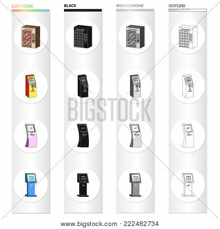 The device for passage, the machine of medicines, the ticket terminal, the automatic machine of chocolate. Different kinds of the terminal set collection icons in cartoon black monochrome outline style vector isometric symbol stock illustration .