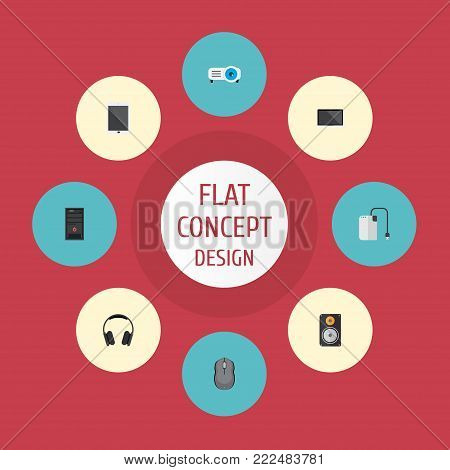 Icons flat style projector, tablet, control device and other vector elements. Set of laptop icons flat style symbols also includes projector, earphone, processor objects.