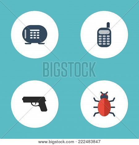 Icons flat style safe, virus, gun and other vector elements. Set of security icons flat style symbols also includes virus, bug, vault objects.