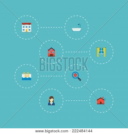 Icons flat style broker, window, mortgage and other vector elements. Set of immovable icons flat style symbols also includes house, property, curtain objects.
