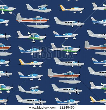 Seamless pattern with propeller airplanes. Private turbo propeller aircraft, passenger plane, hydroplane, speedy aeroplane, flying boat. Side view screw aircraft, small aviation vector illustration.