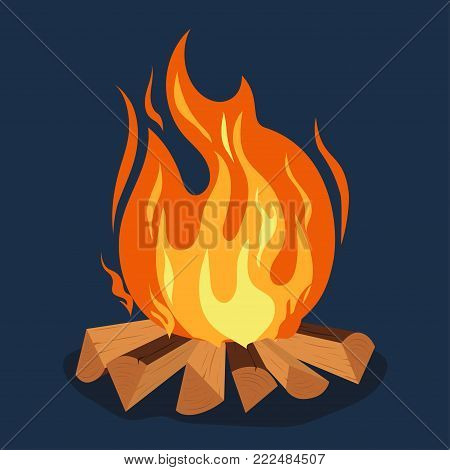 Bonfire cartoon style illustration, camping, burning woodpile, campfire or fireplace Burning on Firewood, Outdoor Tourism. Vector poster