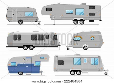 Camping trailers isolated on white set. Car RV trailer caravan, modern motorhome, mobile home for country and nature vacation. Side view recreational vehicles vans vector illustration in flat syle. poster