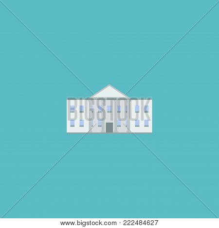 Icon flat government building element.  illustration of icon flat white house isolated on clean background. Can be used as white, house and government symbols.