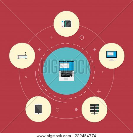 Icons flat style modem, monitor, game console and other  elements. Set of PC icons flat style symbols also includes game, laptop, play objects.