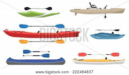 Side view plastic colorful kayaks with paddles set. Rafting, kayaking, paddling and canoeing activity. Extreme water sport, relaxation on river or lake, adventure by boat isolated vector illustration