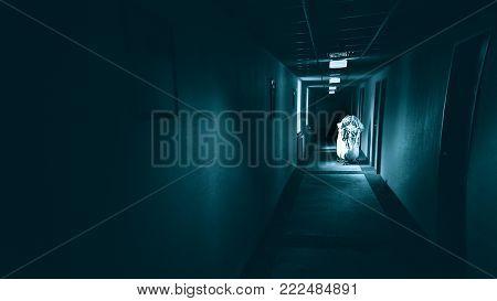 Terrible corridor in hotel, horror dark hallway.