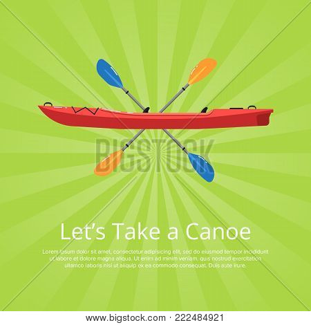 Let's take a canoe banner with boat and paddles on striped background. Rafting, kayaking, paddling, canoeing activity. Extreme water sport, relaxation on river, adventure by vessel vector illustration