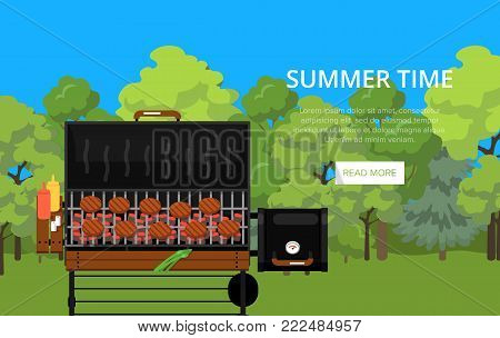 Summer time poster with grilled steaks on gas barbecue grill. Outdoor cooking equipment with assorted delicious food vector illustration. Garden BBQ picnic, traditional weekend food preparation.