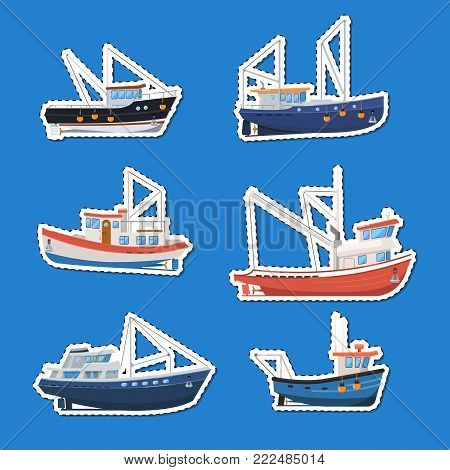 Fishing boats side view isolated labels set. Commercial fishing trawlers for industrial seafood production vector illustration. Vintage marine fleet of ships, sea or ocean transportation collection.