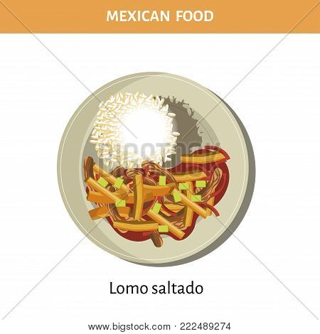 Nutritious Lomo saltado on plate from traditional Mexican food isolated cartoon flat vector illustration on white background. Delicious dish of roast beef with organic vegetables and boiled rice.