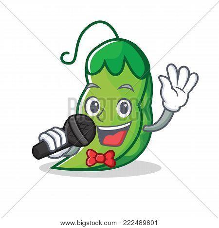 Singing peas mascot cartoon style vector illustration