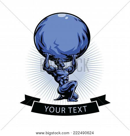 Gym Logo Template. Atlas Titan Holding Globe. Vector Illustration Design
