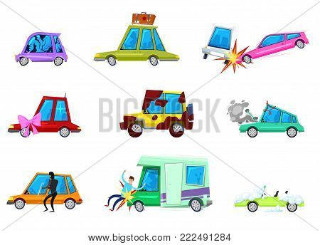 Cartoon car vector comic minicar and broken vehicle after auto accident or automobile crash and transport collision of minivan with pedestrian character set illustration isolated on white background.
