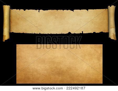 Antique scroll with torn edges and old yellowed paper sheet for design. Isolated on black background.