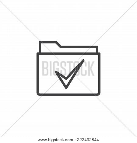 Folder with a check mark line icon, outline vector sign, linear style pictogram isolated on white. Approved Check folder symbol, logo illustration. Editable stroke