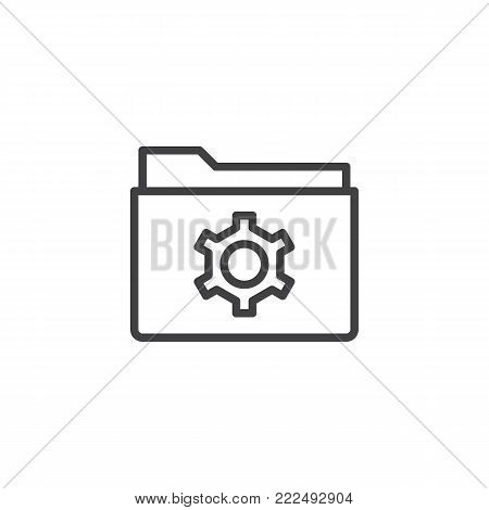 Folder with gear line icon, outline vector sign, linear style pictogram isolated on white. folder settings symbol, logo illustration. Editable stroke