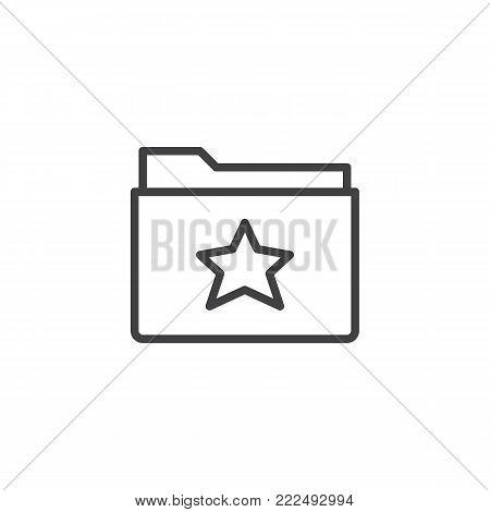 Favorite folder line icon, outline vector sign, linear style pictogram isolated on white. Symbol, logo illustration. Editable stroke