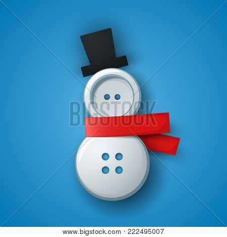 Sewing button - snowman illustration. Vector eps 10