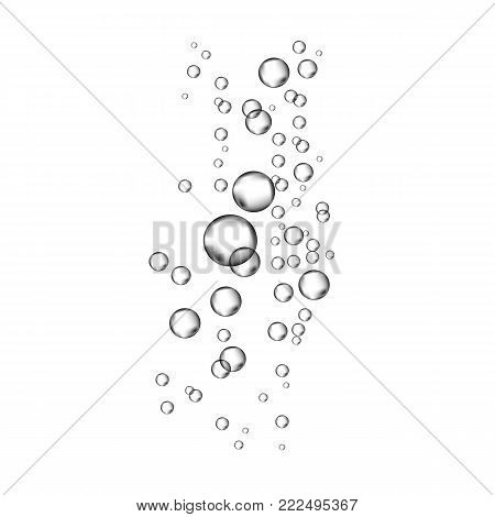 Blue Underwater Fizzing Air Bubbles  On White   Background.