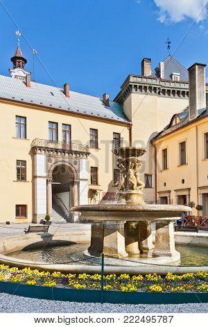 CZECH REPUBLIC, ZBIROH - MAR 14, 2016: neo-renaissance castle Zbiroh, Czech republic. Artist Alfons Mucha painted The Slav Epic (Czech: Slovanska epopej) here.