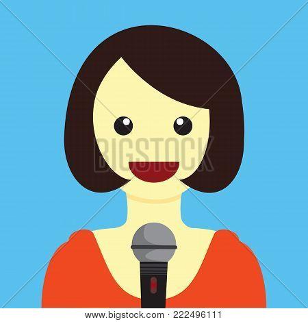 Lady Singing Cartoon Vector Illustration Graphic Design
