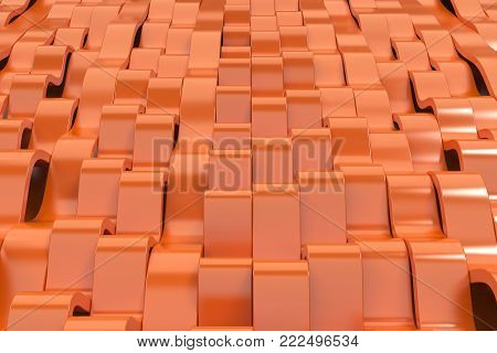 Abstract 3D Rendering Of Orange Sine Waves