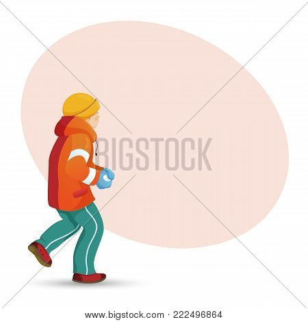 Teenage boy making snowball, back view portrait and place for text, cartoon vector illustration isolated on white background. Boy playing snowballs, making snow ball and round place, space for text