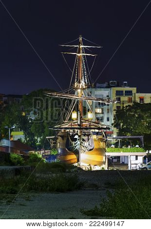 front view of the Pirate ship in the city of Varna by night