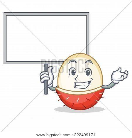 Bring board rambutan character cartoon style vector illustration