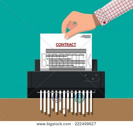 Hand putting contract paper in shredder machine. Torn to shreds document. Contract termination concept. Vector illustration in flat design