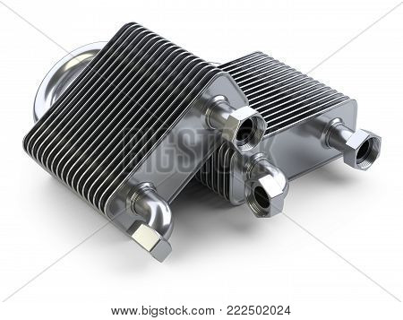 New heat exchangers with tubes for connection of Industrial cooling unit equipment. 3d illustratin on a white bacground.