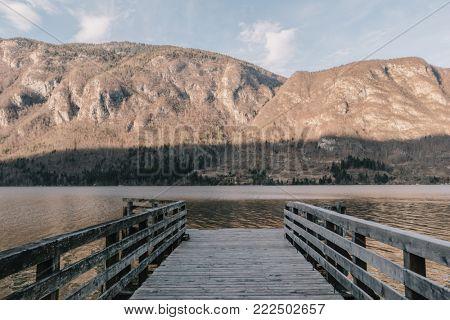 Wooden boardwalk. Amazing landscape.